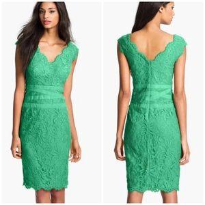 Tadashi Shoji Embroidered Lace Sheath Dress Green